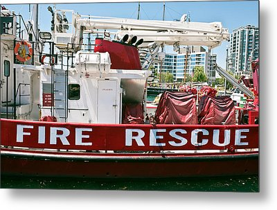 Fire Rescue Boat Metal Print by Marek Poplawski