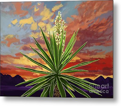 Fire Sky Desert Blooming Yucca Metal Print by Tim Gilliland