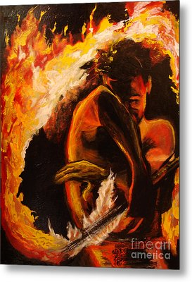 Fire Spin Metal Print by Donna Chaasadah