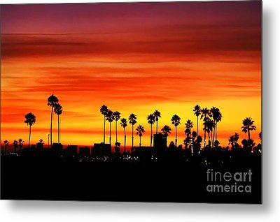 Metal Print featuring the photograph Fire Sunset In Long Beach by Mariola Bitner