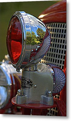 Fire Truck Reflections Metal Print