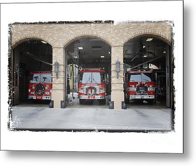 Fire Trucks At The Lafd Fire Station Are Decorated For Christmas Metal Print by Nina Prommer