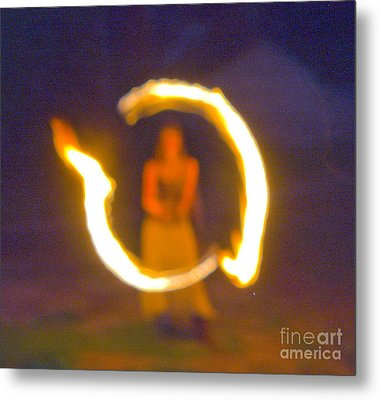 Fire Twirler Alone Metal Print