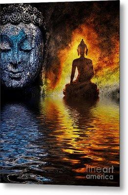 Fire Water Buddha Metal Print