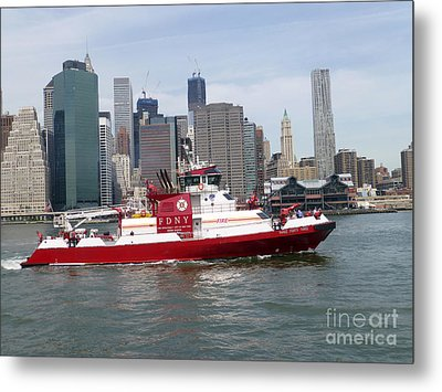 Fireboat Three Forty Three  Fdny With The Nyc Skyline Metal Print