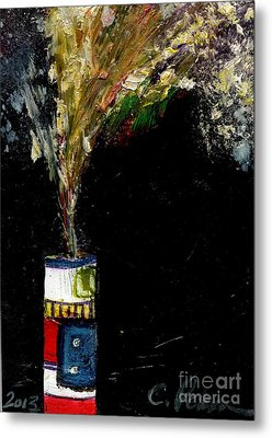 Firecracker Explodes. Bang Series No. 5 Roman Candle Metal Print by Cathy Peterson