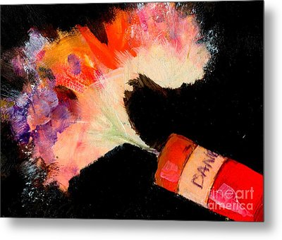 Firecracker Explodes. Bang Series No. 6 Red Danger Metal Print by Cathy Peterson