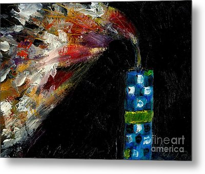 Firecracker Explodes. Bang Series No. 8 Blue Checkered Flag Metal Print by Cathy Peterson