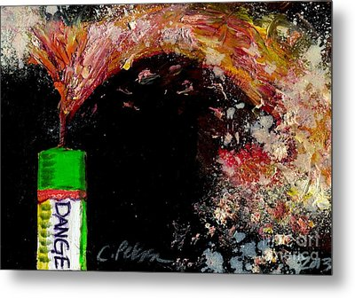 Firecracker Explodes. Danger. Bang Series No. 1 Metal Print by Cathy Peterson