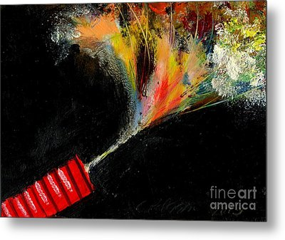 Firecracker Explodes. Red Stick. Bang Series No. 4 Metal Print by Cathy Peterson