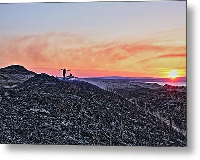 Firefighter At Sunset Metal Print by Tony Reddington