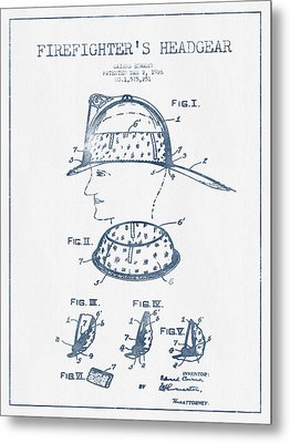 Firefighter Headgear Patent Drawing From 1926- Blue Ink Metal Print