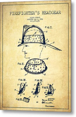 Firefighter Headgear Patent Drawing From 1926 - Vintage Metal Print by Aged Pixel