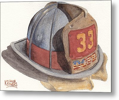 Firefighter Helmet With Melted Visor Metal Print by Ken Powers