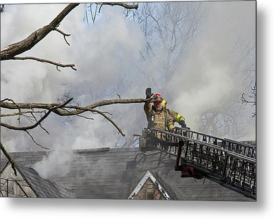 Firefighters Attending A House Fire Metal Print by Jim West