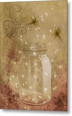 Fireflies And Dragonflies Metal Print