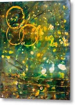 Fireflies Encaustic Metal Print
