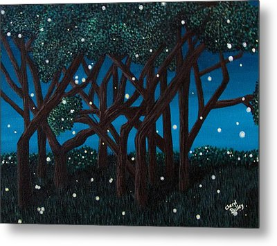 Metal Print featuring the painting Fireflies by Cheryl Bailey