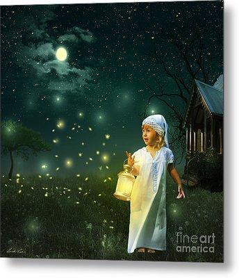 Fireflies Metal Print by Linda Lees