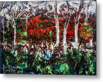Metal Print featuring the painting Fireflies by Ron Richard Baviello