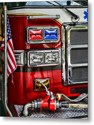 Fireman - Fire Engine Metal Print