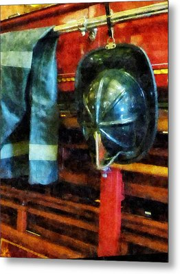 Fireman - Fireman's Helmet And Jacket Metal Print by Susan Savad