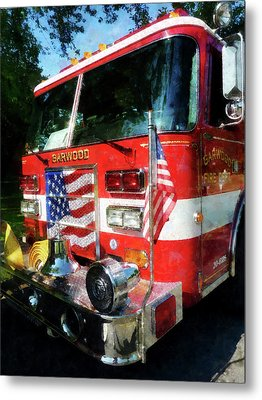 Fireman - Front Of Fire Engine Metal Print by Susan Savad
