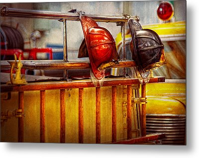 Fireman - Hat - Waiting For A Hero  Metal Print by Mike Savad