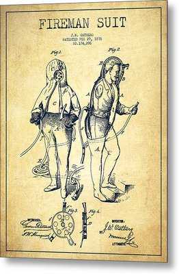 Fireman Suit Patent Drawing From 1826 - Vintage Metal Print by Aged Pixel