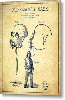 Firemans Mask Patent From 1889 - Vintage Metal Print