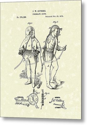 Fireman's Suits 1876 Patent Art Metal Print