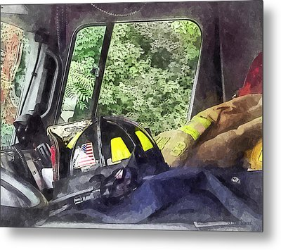 Firemen - Helmet Inside Cab Of Fire Truck Metal Print by Susan Savad