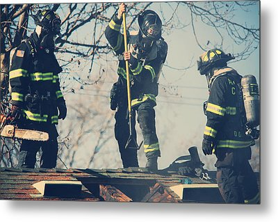 Firemen Metal Print by Laurie Search