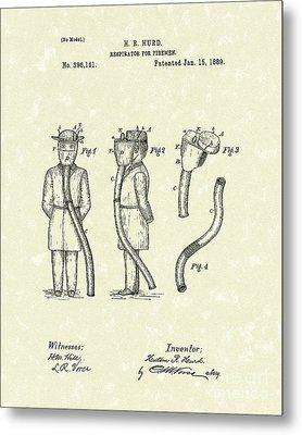 Firemen Respirator 1889 Patent Art Metal Print by Prior Art Design