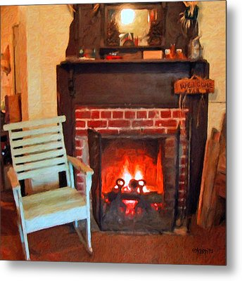 The Family Hearth - Fireplace Old Rocking Chair Metal Print by Rebecca Korpita