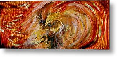Firestorm Hawk Metal Print by Luis  Navarro