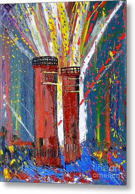 Metal Print featuring the painting Firetowers Fireworks by Leslie Byrne