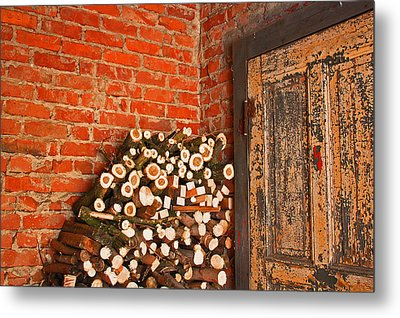 Firewood And Door Metal Print