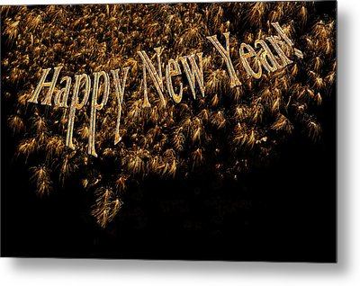Fireworks 2013 In Elegant Gold And Black Metal Print by Marianne Campolongo