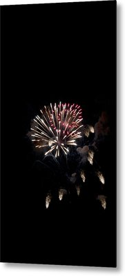 Fireworks At Night Metal Print