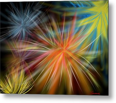 Metal Print featuring the digital art Fireworks by Christine Fournier