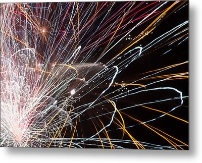 Fireworks Cropped Metal Print by Carl Clay