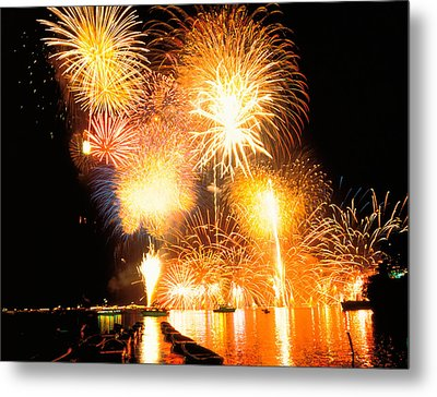 Fireworks Display In Night Metal Print by Panoramic Images