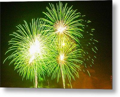 Fireworks Green And White Metal Print by Robert Hebert