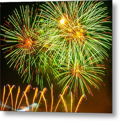 Fireworks Green And Yellow Metal Print by Robert Hebert