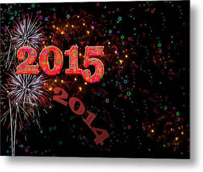 Fireworks Happy New Year 2015 Metal Print