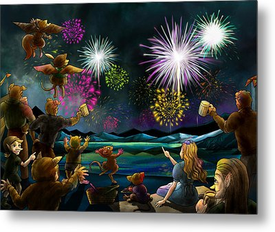 Metal Print featuring the painting Fireworks In Oxboar by Reynold Jay