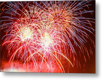 Fireworks In Red White And Blue Metal Print by Robert Hebert