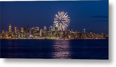 Fireworks In Vancouver City Metal Print