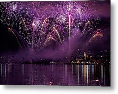Fireworks Lake Pusiano Metal Print by Roberto Marini